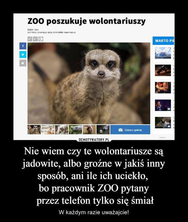 Nie wiem czy te wolontariusze są jadowite, albo groźne w jakiś inny sposób, ani ile ich uciekło, bo pracownik ZOO pytany przez telefon tylko się śmiał – W każdym razie uważajcie! Zoo poszukuje wolontariuszy
