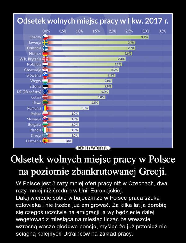 Odsetek wolnych miejsc pracy w Polsce na poziomie zbankrutowanej Grecji. – W Polsce jest 3 razy mniej ofert pracy niż w Czechach, dwa razy mniej niż średnio w Unii Europejskiej. Dalej wierzcie sobie w bajeczki że w Polsce praca szuka człowieka i nie trzeba już emigrować. Za kilka lat ja dorobię się czegoś uczciwie na emigracji, a wy będziecie dalej wegetować z miesiąca na miesiąc licząc że wreszcie wzrosną wasze głodowe pensje, myśląc że już przecież nie ściągną kolejnych Ukraińców na zakład pracy.