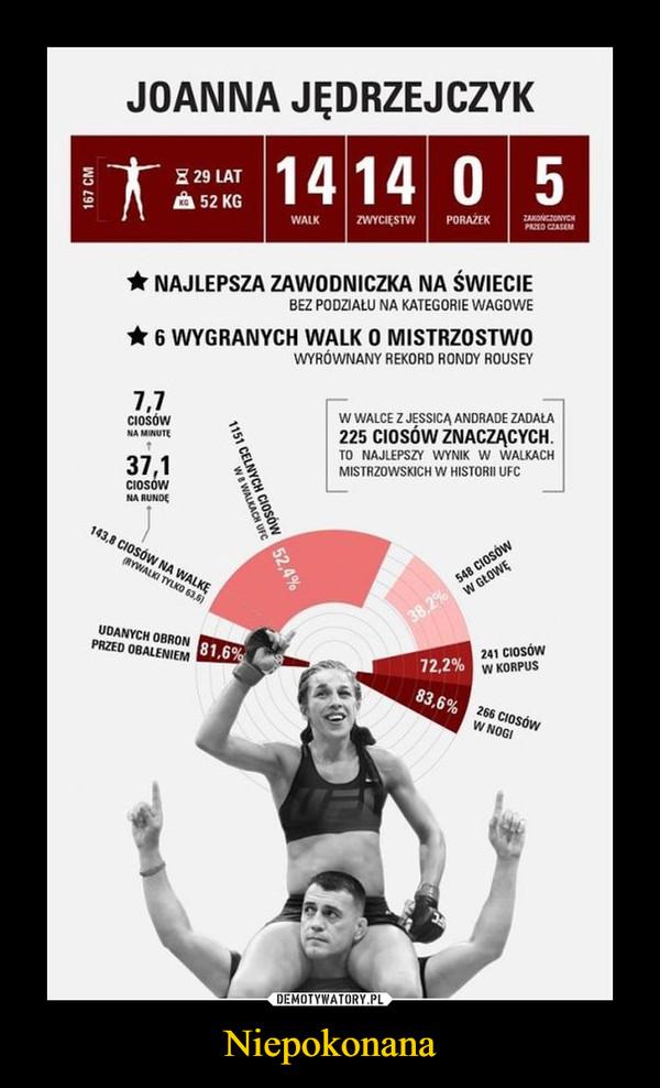 Niepokonana –  joanna jędrzejczyk14 walk 14 zwycięstw 0 porażeknajlepsza zawodniczka na świecie