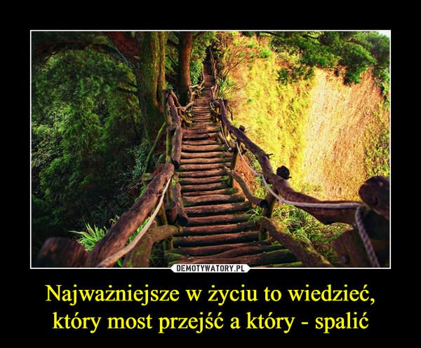 Najważniejsze w życiu to wiedzieć, który most przejść a który - spalić –
