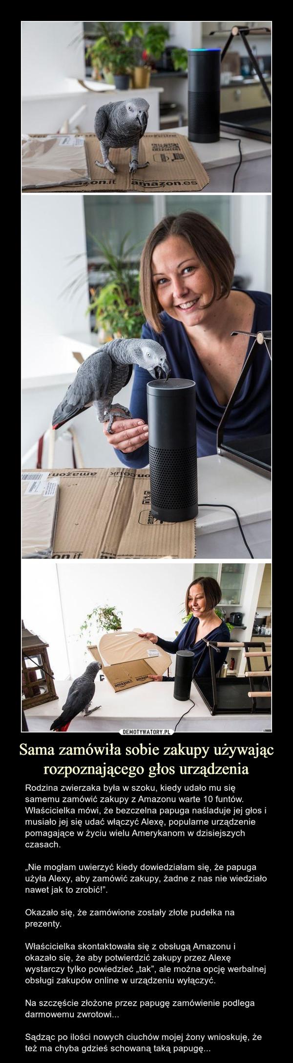 """Sama zamówiła sobie zakupy używając rozpoznającego głos urządzenia – Rodzina zwierzaka była w szoku, kiedy udało mu się samemu zamówić zakupy z Amazonu warte 10 funtów. Właścicielka mówi, że bezczelna papuga naśladuje jej głos i musiało jej się udać włączyćAlexę, popularne urządzenie pomagające w życiu wielu Amerykanom w dzisiejszych czasach.""""Nie mogłam uwierzyć kiedy dowiedziałam się, że papuga użyła Alexy, aby zamówić zakupy, żadne z nas nie wiedziało nawet jak to zrobić!"""". Okazało się, że zamówione zostały złote pudełka na prezenty. Właścicielka skontaktowała się z obsługą Amazonu i okazało się, że aby potwierdzić zakupy przez Alexę wystarczy tylko powiedzieć """"tak"""", ale można opcję werbalnej obsługi zakupów online w urządzeniu wyłączyć.Na szczęście złożone przez papugę zamówienie podlega darmowemu zwrotowi...Sądząc po ilości nowych ciuchów mojej żony wnioskuję, że też ma chyba gdzieś schowaną taką papugę..."""