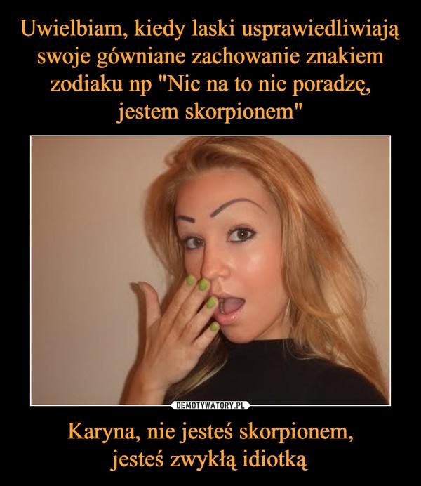 Karyna, nie jesteś skorpionem,jesteś zwykłą idiotką –