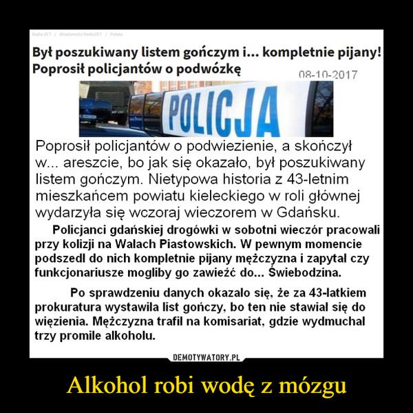 Alkohol robi wodę z mózgu –