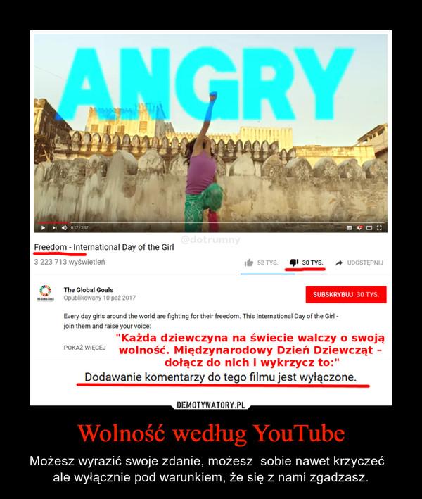 Wolność według YouTube – Możesz wyrazić swoje zdanie, możesz  sobie nawet krzyczeć  ale wyłącznie pod warunkiem, że się z nami zgadzasz.