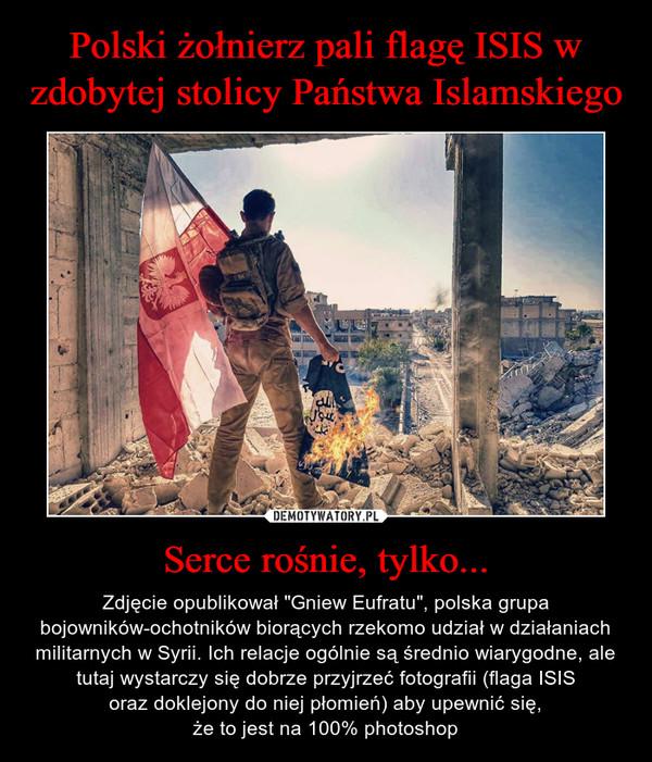 """Serce rośnie, tylko... – Zdjęcie opublikował """"Gniew Eufratu"""", polska grupa bojowników-ochotników biorących rzekomo udział w działaniach militarnych w Syrii. Ich relacje ogólnie są średnio wiarygodne, ale tutaj wystarczy się dobrze przyjrzeć fotografii (flaga ISISoraz doklejony do niej płomień) aby upewnić się,że to jest na 100% photoshop"""