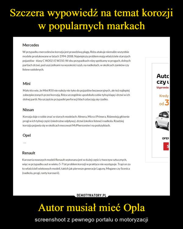 Autor musiał mieć Opla – screenshoot z pewnego portalu o motoryzacji