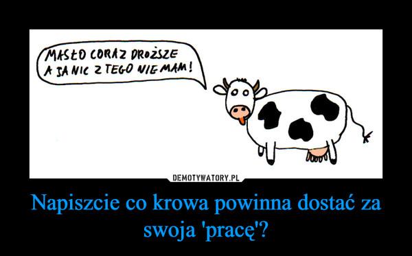 Napiszcie co krowa powinna dostać za swoja 'pracę'? –