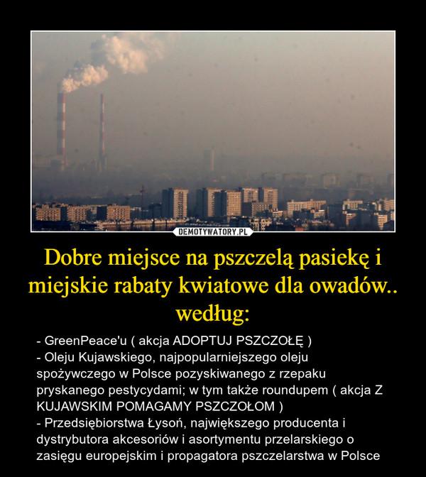Dobre miejsce na pszczelą pasiekę i miejskie rabaty kwiatowe dla owadów.. według: – - GreenPeace'u ( akcja ADOPTUJ PSZCZOŁĘ )- Oleju Kujawskiego, najpopularniejszego oleju spożywczego w Polsce pozyskiwanego z rzepaku pryskanego pestycydami; w tym także roundupem ( akcja Z KUJAWSKIM POMAGAMY PSZCZOŁOM )- Przedsiębiorstwa Łysoń, największego producenta i dystrybutora akcesoriów i asortymentu przelarskiego o zasięgu europejskim i propagatora pszczelarstwa w Polsce