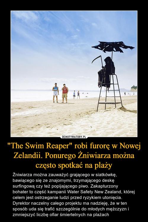 """""""The Swim Reaper"""" robi furorę w Nowej Zelandii. Ponurego Żniwiarza można często spotkać na plaży"""