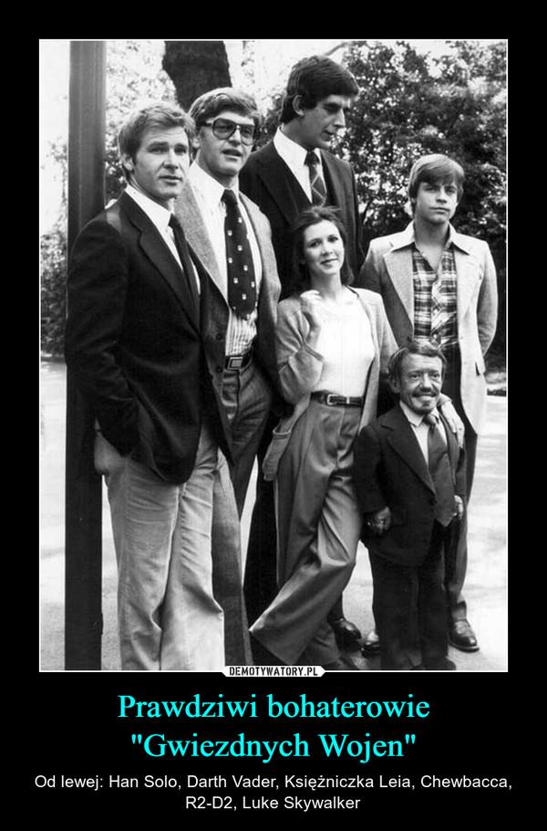 """Prawdziwi bohaterowie """"Gwiezdnych Wojen"""" – Od lewej: Han Solo, Darth Vader, Księżniczka Leia, Chewbacca, R2-D2, Luke Skywalker"""