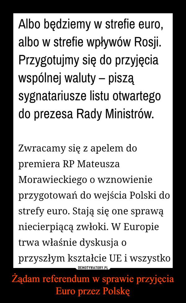 Żądam referendum w sprawie przyjęcia Euro przez Polskę –