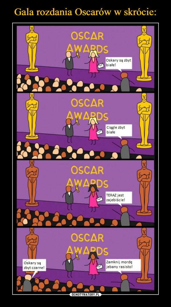 –  Oscary są zbyt białe! Ciągle zbyt białe! Teraz jest zajebiście! Oscary są zbyt czarne! Zamknij mordę jebany rasisto!