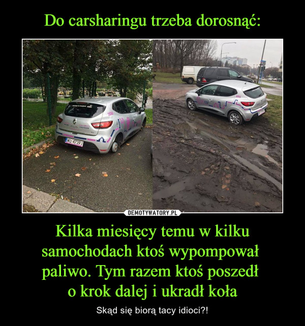 Kilka miesięcy temu w kilku samochodach ktoś wypompował paliwo. Tym razem ktoś poszedł o krok dalej i ukradł koła – Skąd się biorą tacy idioci?!