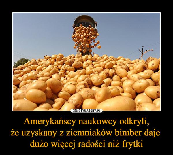 Amerykańscy naukowcy odkryli,że uzyskany z ziemniaków bimber daje dużo więcej radości niż frytki –