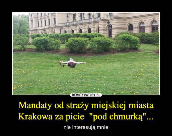 """Mandaty od straży miejskiej miasta Krakowa za picie  """"pod chmurką""""... – nie interesują mnie"""