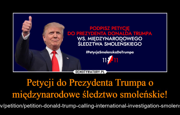 Petycji do Prezydenta Trumpa o międzynarodowe śledztwo smoleńskie! – https://petitions.whitehouse.gov/petition/petition-donald-trump-calling-international-investigation-smolensk-plane-crash-april-10th-2010