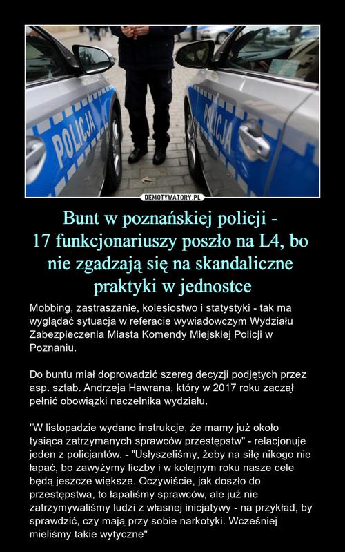 Bunt w poznańskiej policji -  17 funkcjonariuszy poszło na L4, bo  nie zgadzają się na skandaliczne  praktyki w jednostce