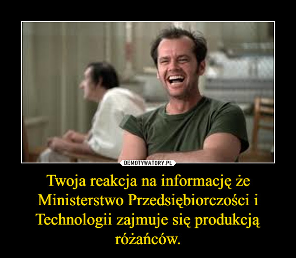 Twoja reakcja na informację że Ministerstwo Przedsiębiorczości i Technologii zajmuje się produkcją różańców. –