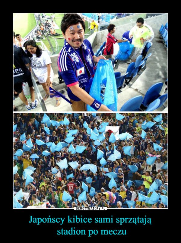Japońscy kibice sami sprzątają stadion po meczu –
