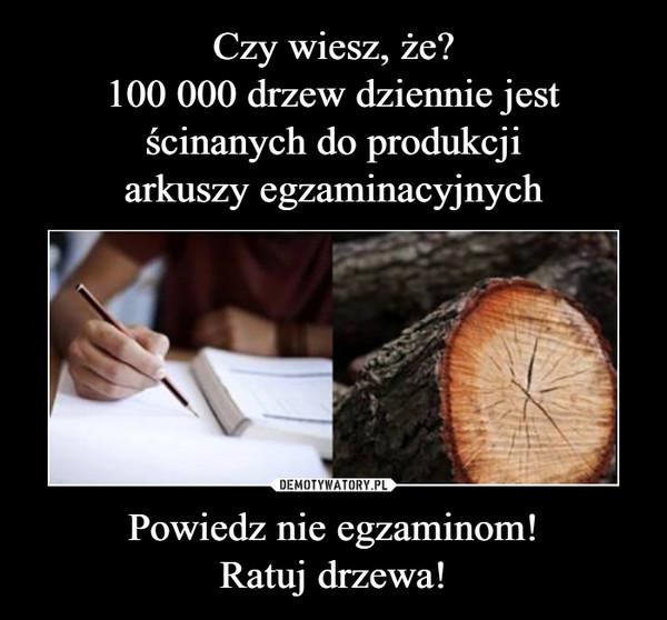 Powiedz nie egzaminom!Ratuj drzewa! –