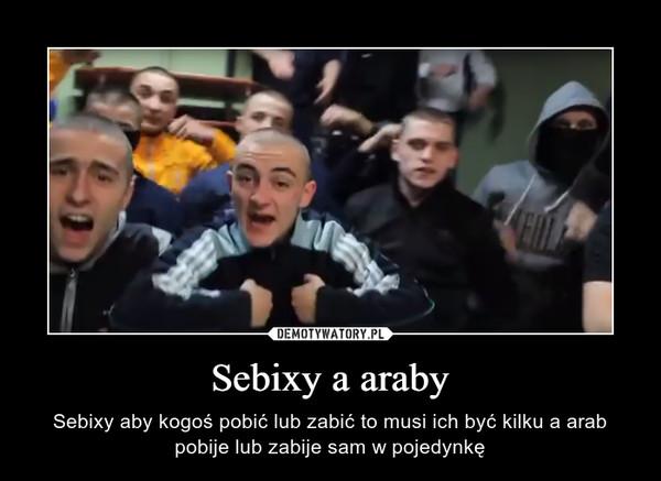 Sebixy a araby – Sebixy aby kogoś pobić lub zabić to musi ich być kilku a arab pobije lub zabije sam w pojedynkę