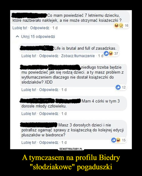 """A tymczasem na profilu Biedry """"słodziakowe"""" pogaduszki"""