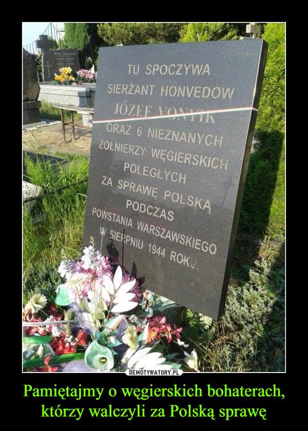 Pamiętajmy o węgierskich bohaterach, którzy walczyli za Polską sprawę –  tu spoczywa