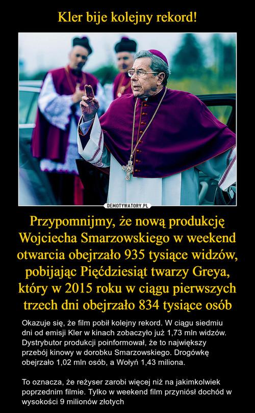 Kler bije kolejny rekord! Przypomnijmy, że nową produkcję Wojciecha Smarzowskiego w weekend otwarcia obejrzało 935 tysiące widzów, pobijając Pięćdziesiąt twarzy Greya, który w 2015 roku w ciągu pierwszych trzech dni obejrzało 834 tysiące osób