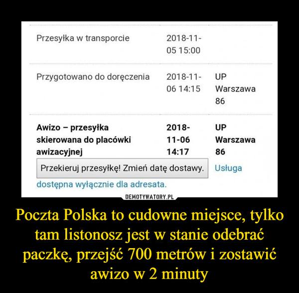 Poczta Polska to cudowne miejsce, tylko tam listonosz jest w stanie odebrać paczkę, przejść 700 metrów i zostawić awizo w 2 minuty –  Przesyłka w transporcie 2018-11-05 15:00 Przygotowano do doręczenia 2018-11- UP 0614:15 Warszawa 86 Awizo — przesyłka 2018- UP skierowana do placówki 11-06 Warszawa awizacyjnej 14:17 86 Przekieruj przesyłkę! Zmień datę dostawy. dostępna wyłącznie dla adresata. Usługa