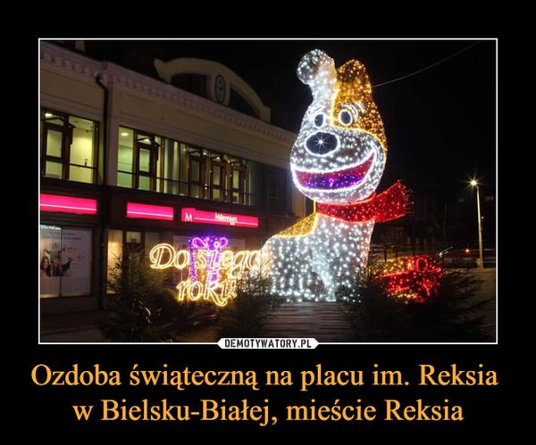 Ozdoba świąteczną na placu im. Reksia  w Bielsku-Białej, mieście Reksia –