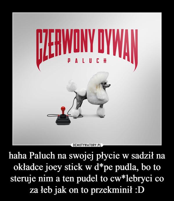 haha Paluch na swojej płycie w sadził na okładce joey stick w d*pe pudla, bo to steruje nim a ten pudel to cw*lebryci co za łeb jak on to przekminił :D –