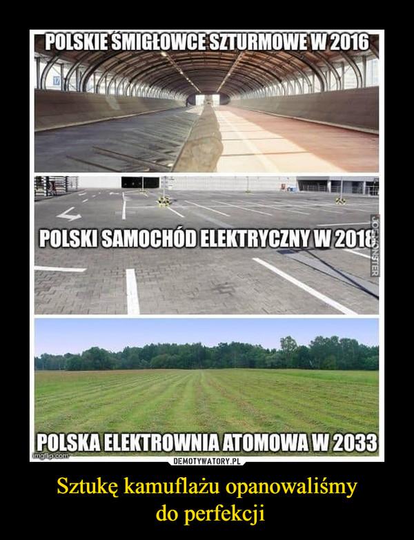 Sztukę kamuflażu opanowaliśmy do perfekcji –  POLSKIE SMIGLOWCESZTURMOWE W 2016POLSKI SAMOCHOD ELEKTRYCZNY W 2018POLSKA ELEKTROWNIA ATOMOWA W 2033