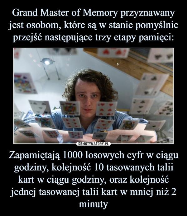 Zapamiętają 1000 losowych cyfr w ciągu godziny, kolejność 10 tasowanych talii kart w ciągu godziny, oraz kolejność jednej tasowanej talii kart w mniej niż 2 minuty –