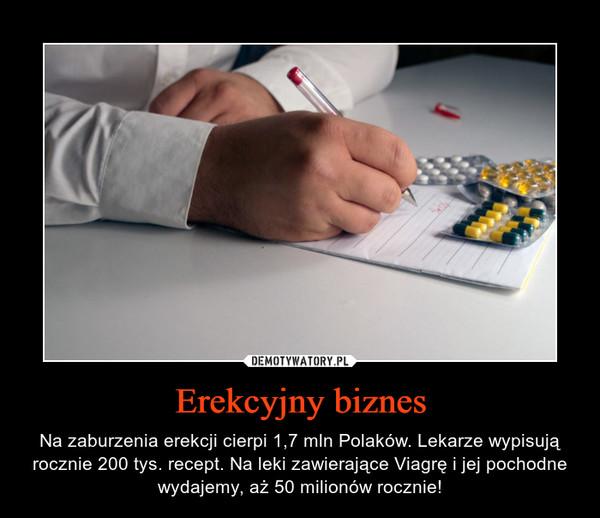 Erekcyjny biznes – Na zaburzenia erekcji cierpi 1,7 mln Polaków. Lekarze wypisują rocznie 200 tys. recept. Na leki zawierające Viagrę i jej pochodne wydajemy, aż 50 milionów rocznie!