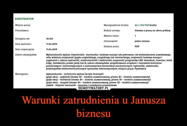 Warunki zatrudnienia u Janusza biznesu –