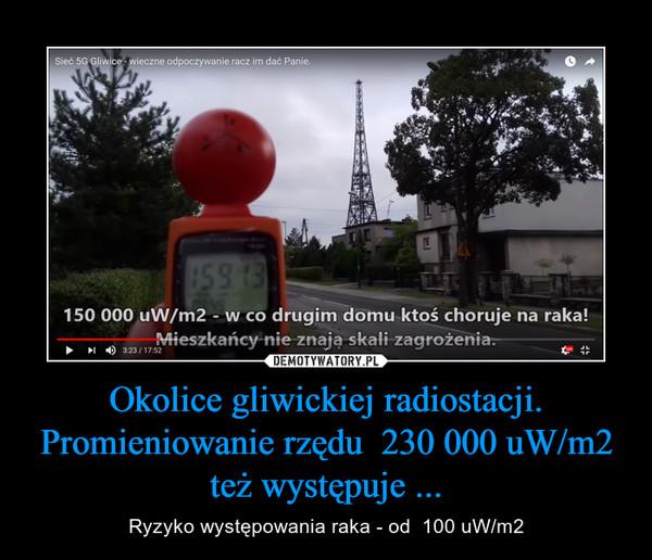 Okolice gliwickiej radiostacji. Promieniowanie rzędu  230 000 uW/m2 też występuje ... – Ryzyko występowania raka - od  100 uW/m2