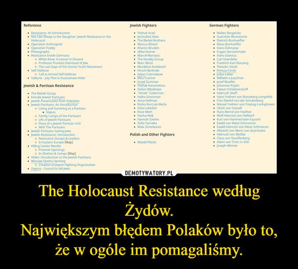 The Holocaust Resistance według Żydów.Największym błędem Polaków było to, że w ogóle im pomagaliśmy. –