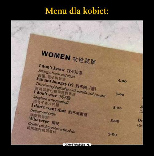 Menu dla kobiet: