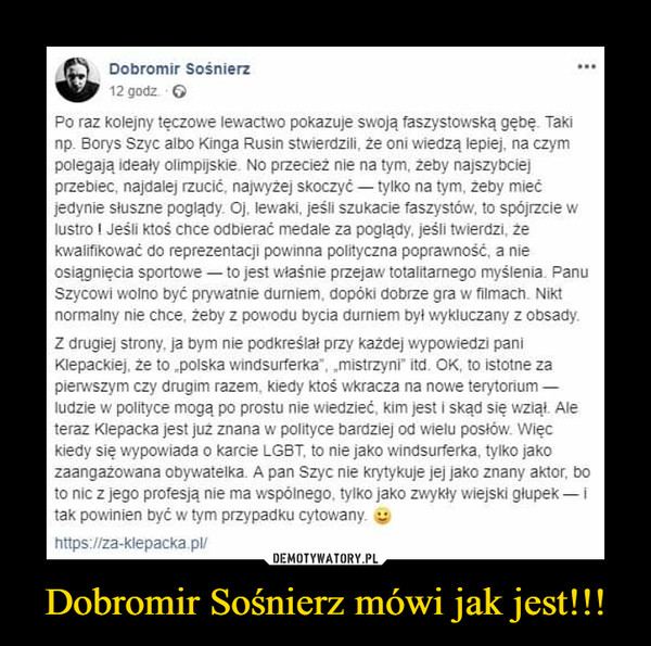 Dobromir Sośnierz mówi jak jest!!! –