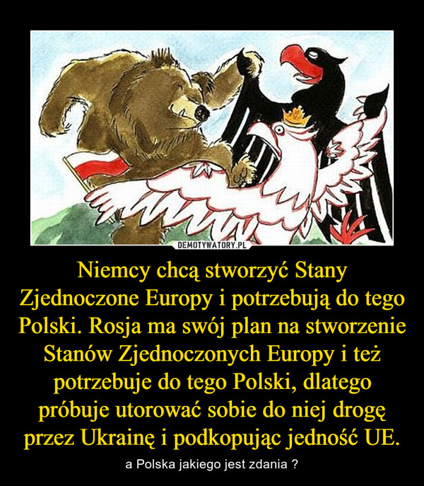 Niemcy chcą stworzyć Stany Zjednoczone Europy i potrzebują do tego Polski. Rosja ma swój plan na stworzenie Stanów Zjednoczonych Europy i też potrzebuje do tego Polski, dlatego próbuje utorować sobie do niej drogę przez Ukrainę i podkopując jedność UE. – a Polska jakiego jest zdania ?