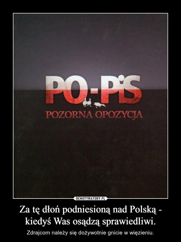 Za tę dłoń podniesioną nad Polską - kiedyś Was osądzą sprawiedliwi. – Zdrajcom należy się dożywotnie gnicie w więzieniu.