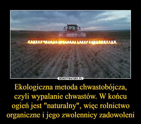 """Ekologiczna metoda chwastobójcza, czyli wypalanie chwastów. W końcu ogień jest """"naturalny"""", więc rolnictwo organiczne i jego zwolennicy zadowoleni –"""