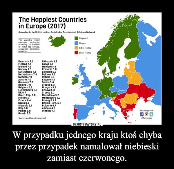 W przypadku jednego kraju ktoś chyba przez przypadek namalował niebieski zamiast czerwonego. –