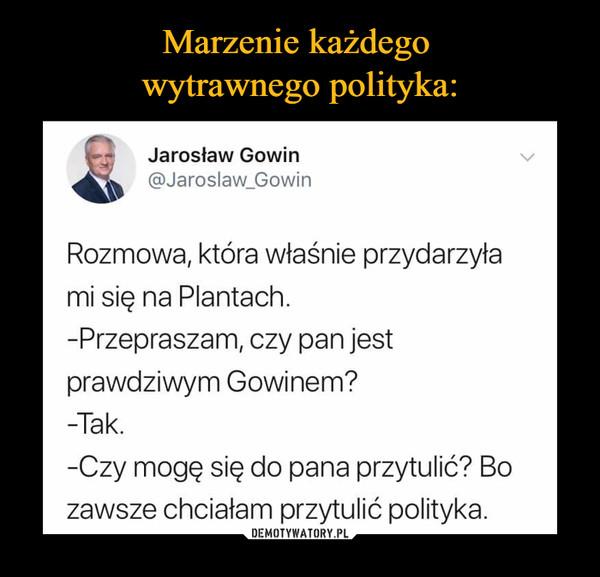 –  Jarosław Gowin@Jaroslaw_GowinRozmowa, która właśnie przydarzyłami się na Plantach-Przepraszam, czy pan jestprawdziwym Gowinem?-Tak.-Czy mogę się do pana przytulić? Bozawsze chciałam przytulić polityka.
