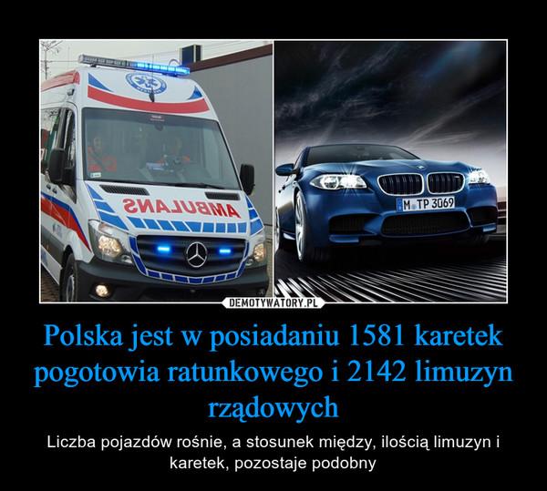 Polska jest w posiadaniu 1581 karetek pogotowia ratunkowego i 2142 limuzyn rządowych – Liczba pojazdów rośnie, a stosunek między, ilością limuzyn i karetek, pozostaje podobny