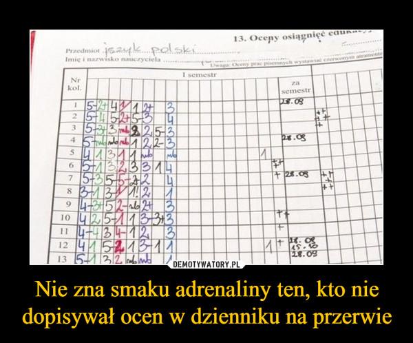 Nie zna smaku adrenaliny ten, kto nie dopisywał ocen w dzienniku na przerwie –  język polski Imię i nazwisko nauczyciela