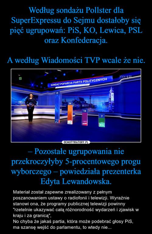 Według sondażu Pollster dla SuperExpressu do Sejmu dostałoby się pięć ugrupowań: PiS, KO, Lewica, PSL oraz Konfederacja.  A według Wiadomości TVP wcale że nie. – Pozostałe ugrupowania nie przekroczyłyby 5-procentowego progu wyborczego – powiedziała prezenterka Edyta Lewandowska.
