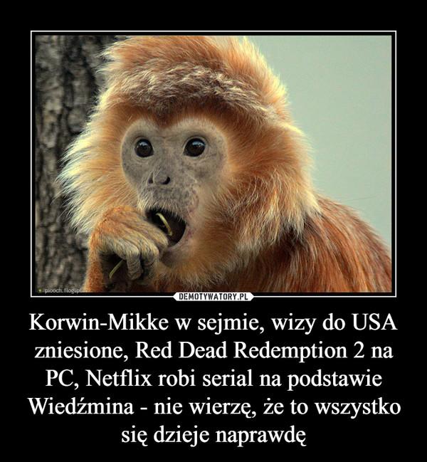 Korwin-Mikke w sejmie, wizy do USA zniesione, Red Dead Redemption 2 na PC, Netflix robi serial na podstawie Wiedźmina - nie wierzę, że to wszystko się dzieje naprawdę –