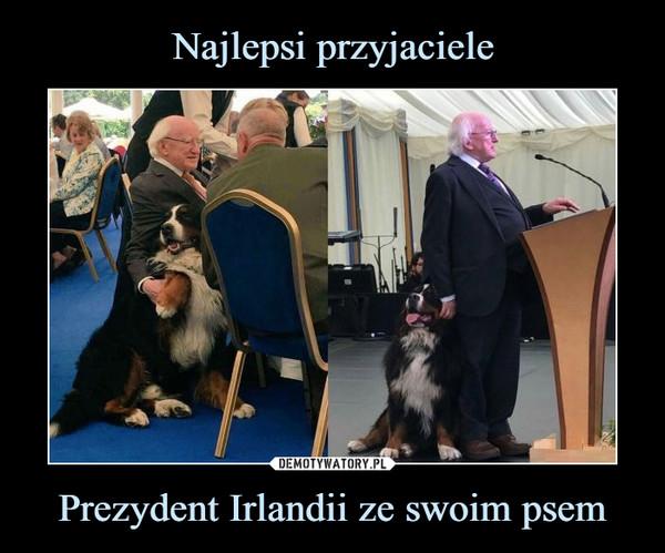 Prezydent Irlandii ze swoim psem –