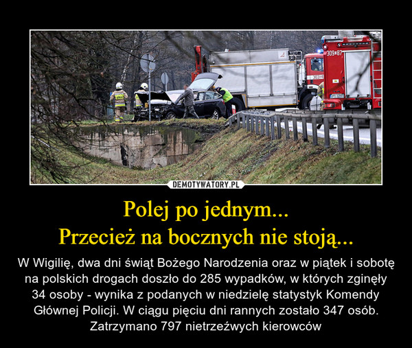 Polej po jednym...Przecież na bocznych nie stoją... – W Wigilię, dwa dni świąt Bożego Narodzenia oraz w piątek i sobotę na polskich drogach doszło do 285 wypadków, w których zginęły 34 osoby - wynika z podanych w niedzielę statystyk Komendy Głównej Policji. W ciągu pięciu dni rannych zostało 347 osób. Zatrzymano 797 nietrzeźwych kierowców